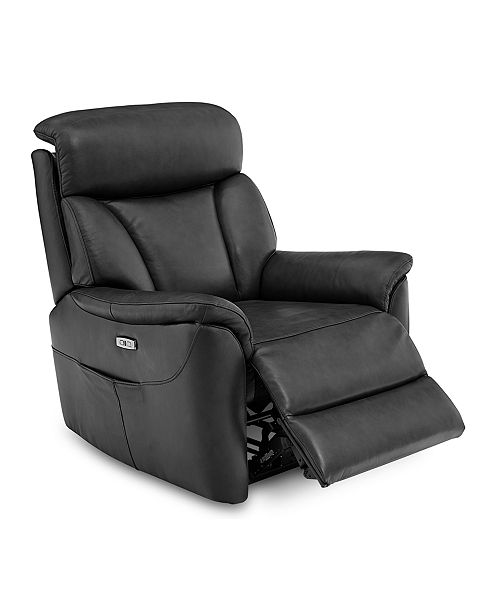 Furniture Brycin Leather Power Recliner with USB Power Outlet