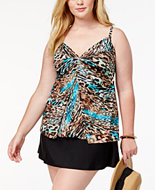 Miraclesuit Plus Size Underwire Tankini Top & Swim Skirt