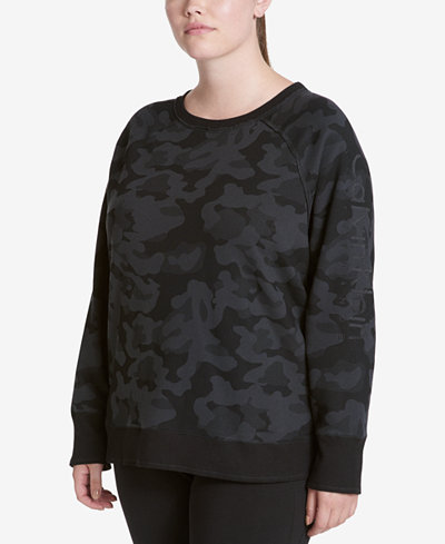 Calvin Klein Performance Plus Size Cotton Embroidered-Logo Sweatshirt