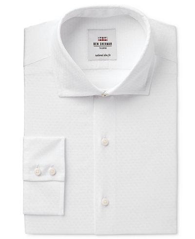 Ben Sherman Men's Slim-Fit White on White Dobby Dress Shirt