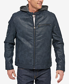 Levi's® Men's Faux-Leather Hooded Racer Jacket