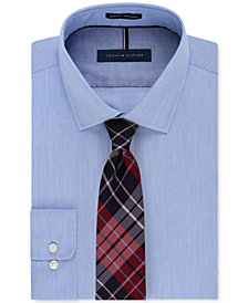 Tommy Hilfiger Men's Stripe Dress Shirt & Exploded Check Tie