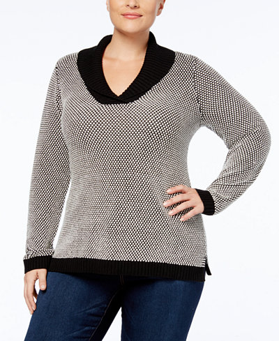 Charter Club Plus Size Shawl-Collar Sweater, Created for Macy's