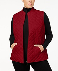 Plus Size Quilted Zip-Front Vest, Created for Macy's