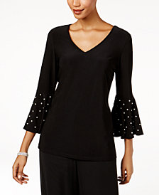 MSK Imitation-Pearl Bell-Sleeve Blouse