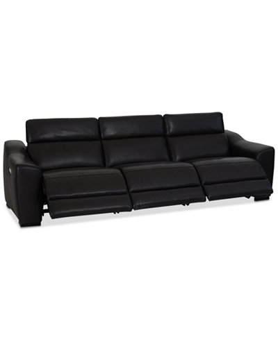 Anniston 3-Pc. Leather Sectional with 3 Power Recliners and USB Power Outlet, Created For Macy's