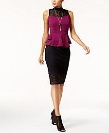 Thalia Sodi Mock-Neck Peplum Top & Lace Skirt, Created for Macy's