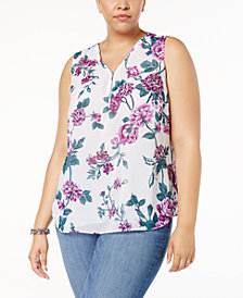 I.N.C. Plus Size Sequined Half-Zip Shell, Created for Macy's
