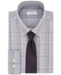Calvin Klein STEEL Performance Gray/Red Check Dress Shirt & Pin Dot Silk Tie