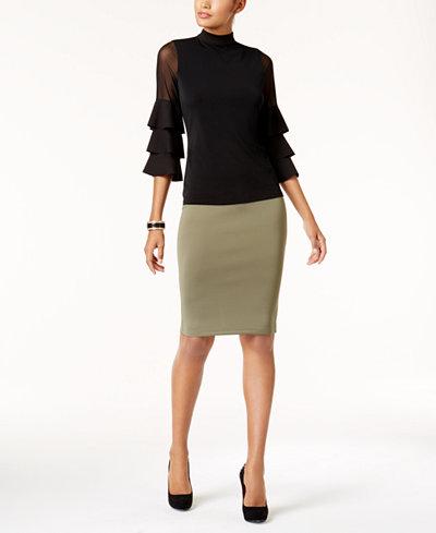 Thalia Sodi Tiered-Sleeve Illusion Top & Scuba Pencil Skirt, Created for Macy's