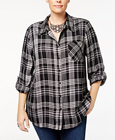 Style & Co Plus Size Oslo Plaid Shirt, Created for Macy's