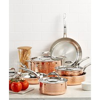 Lagostina Martellata Tri-ply Copper 10-Piece Cookware Set + Lagostina Martellata Tri-ply Copper 3-Qt. Casserole with Lid