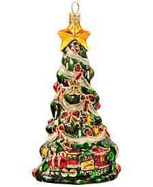 Joy to the World Christmas Tree with Train Ornament