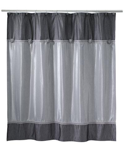 Avanti Braided Medallion Colorblocked Granite Shower Curtain