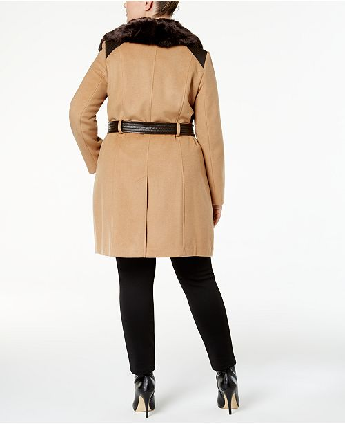 f4bf5b95d06 Via Spiga Plus Size Belted Faux-Fur-Collar Walker Coat   Reviews ...