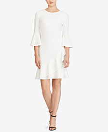 Lauren Ralph Lauren Petite Crepe Bell-Sleeve Dress, Created for Macy's
