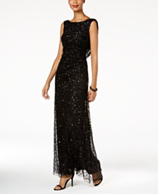 Adrianna Papell Cowl Back Sequined Gown