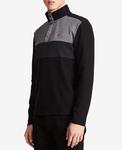 Calvin Klein Men's Colorblocked Quarter-Snap Sweater