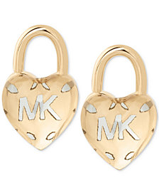 Michael Kors Two-Tone Logo Heart Padlock Stud Earrings