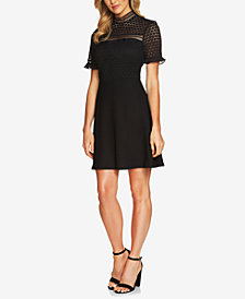 CeCe Lace Mock-Neck Fit & Flare Dress