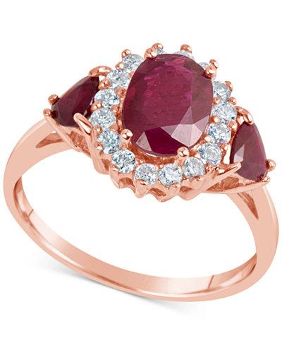 Certified Ruby (1-9/10 ct. t.w.) & Diamond (1/3 ct. t.w.) Ring in 14k Rose Gold