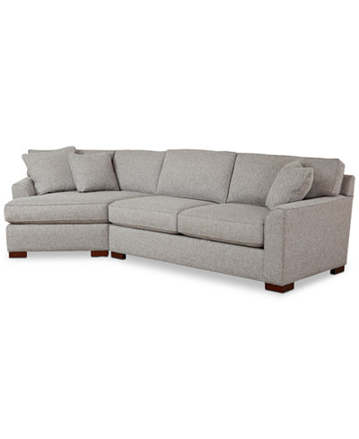 Carena 2-Pc. Fabric Sectional with Cuddler Chaise, Created for Macy's