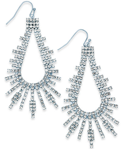 Thalia Sodi Silver-Tone Pavé Drop Earrings, Created for Macy's