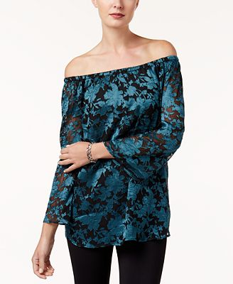 Alfani Petite Jacquard Off-The-Shoulder Top, Created for Macy's