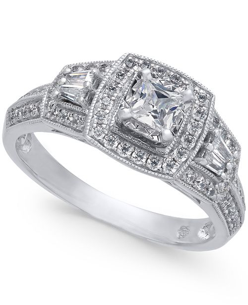 Macy's Diamond Halo Ring (3/4 ct. t.w.) in 14k White Gold