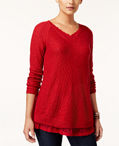 Style & Co Petite Lace-Trim Tunic Sweater, Created for Macy's ...