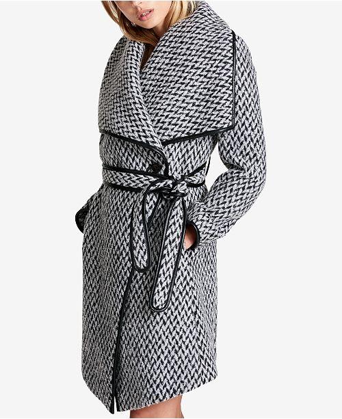 d02953d970eec DKNY Faux-Leather-Trim Textured Wrap Coat   Reviews - Coats ...
