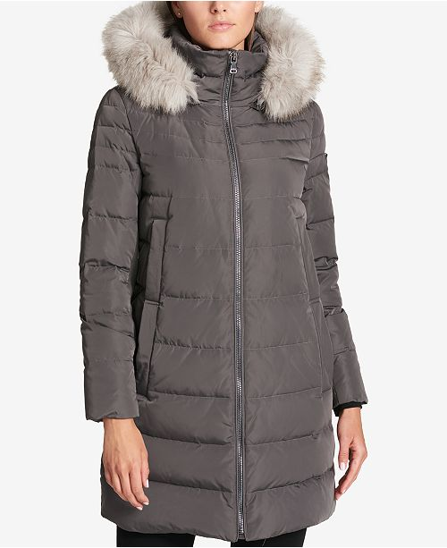 dc779b575 DKNY Faux-Fur-Trim Down Puffer Coat, Created for Macy's & Reviews ...