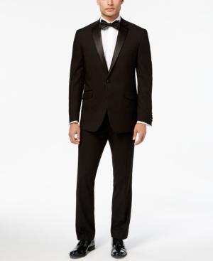 1950s Men's Clothing Kenneth Cole Reaction Mens Slim-Fit Technicole Black Notch-Lapel Tuxedo $425.00 AT vintagedancer.com