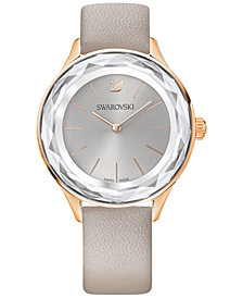 Swarovski Women's Swiss Octea Nova Taupe Leather Strap Watch 36mm