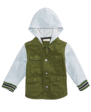 First Impressions Hooded LayeredLook Twill Jacket Baby Boys (024 months) Created for Macys