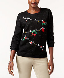 Karen Scott Petite Embellished Holiday Line Sweater, Created for Macy's