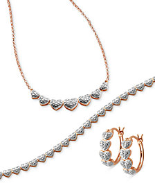 Captured Heart Jewelry Collection  3-Piece Necklace, Bracelet and Earrings Set in Silver Plate and Rose Gold over Silver Plate