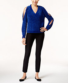 Marled Cold-Shoulder Sweater & ECI Pull-On Pants