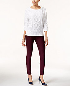 Marled Dolman-Sleeve Sweater & ECI Pull-On Straight-Leg Pants