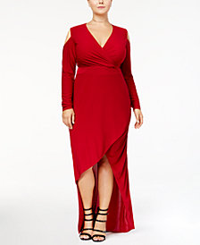 Monif C. Trendy Plus Size Cold-Shoulder Faux-Wrap Dress