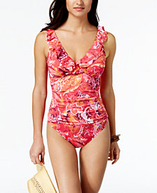 Lauren Ralph Lauren Tummy Control Printed Underwire One-Piece Swimsuit, Created for Macy's