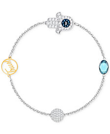 Swarovski Remix Collection Two-Tone Pavé Hamsa and Trust Magnetic Closure Bracelet