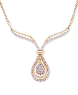 Diamond Teardrop Orbital Drop Earrings (1 ct. t.w.) in 14k Gold, Created for Macy's