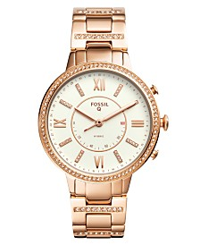 Fossil Women's Tech Virginia Rose Gold-Tone Stainless Steel Bracelet Hybrid Smart Watch 36mm