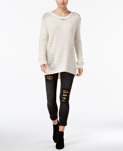 Ultra Flirt Juniors' Embellished Sweater & Vanilla Star Embroidered Skinny Jeans