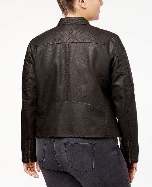 c1e7eccef7e Plus Size Faux-Leather Racer Jacket. 1 reviews. 1 Questions   1 Answers.  main image ...