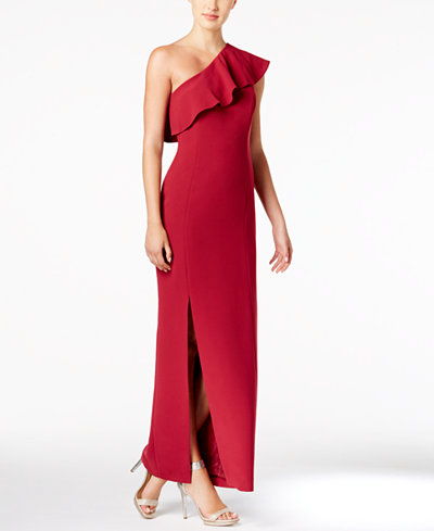 Calvin Klein Ruffle One-Shoulder Gown