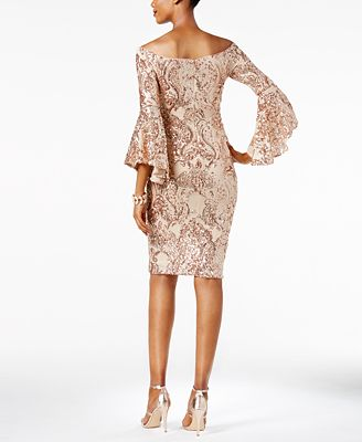 Betsy Amp Adam Sequined Off The Shoulder Dress Dresses