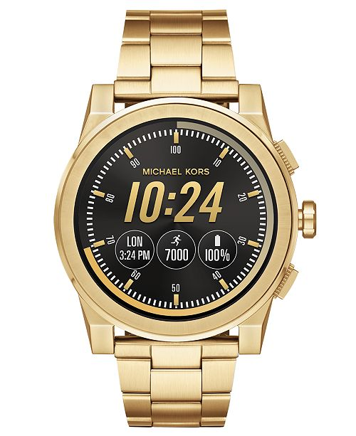 611a479ac837 ... Michael Kors Access Men s Grayson Gold-Tone Stainless Steel Bracelet  Touchscreen Smart Watch ...