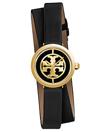 Tory Burch Women's Reva Black Leather Wrap Strap Watch 28mm